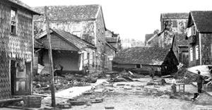 Damage caused by the 22 May 1960 Chilean tsunami.  Photo courtesy of Ilustre Municipalidad de Maullin, USGS Circular 1187.