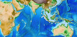 The four images above show confirmed tsunami source locations in the Pacific Ocean, Indian Ocean, Mediterranean Sea, and Caribbean Sea. The symbols indicate cause of the tsunami: Brown Square is a landslide, Red Triangle is a volcanic eruption, Question Mark is an unknown cause, and White Circle is an earthquake and the size of the circle is graduated to indicate the earthquake magnitude. Source: NGDC/WDS-Geophysics.